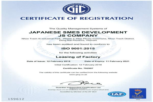 ISO 9001:2015 LEASING OF FACTORY